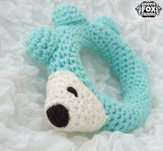 RTS Crochet Baby Hedgehog Rattle Aqua Blue by GreenFoxFarms