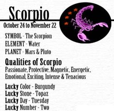 Interesting... This matches many of my most favorite things and the description of a Scorpio has always been a dead-on description for me.