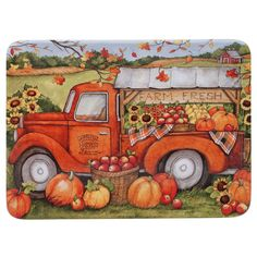 The Harvest Bounty Dinnerware by Certified International ties your dining space together with a dose of seasonal flair. Richly crafted in earthenware, each piece comes garnished with vibrant hues in autumn-inspired motifs. Farm Trucks, Old Trucks, Vintage Trucks, Pickup Trucks, Chevy Trucks, Decoupage, Dinner Plate Sets, Dinner Plates, Fall Harvest