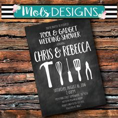 Any Color COUPLES WEDDING TOOL & Gadget His Hers Bbq Barbecue Chalkboard Kitchen Bridal Shower Cookout Honey Do Birthday Party Invitation