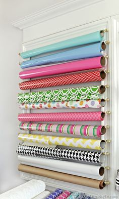 Hidden Chic: Add Pattern & Color Where You Least Expect It Affordable and fast medicine cabinet makeover that adds instant chic Wrapping Paper Organization, Craft Organization, Wrapping Papers, Organizing Tips, Wrapping Paper Station, Gift Wrap Storage, Storage Ideas, Ribbon Storage, Space Crafts