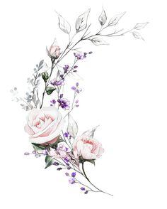 55 Breathtaking Flower Tattoos Ideas Brenda O. Cute Tattoos, Body Art Tattoos, Rose Rib Tattoos, Peony Flower Tattoos, Pink Rose Tattoos, Flower Tattoo Designs, Flower Frame, Flower Art, Floral Illustrations