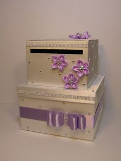 Please read shop announcement!! http://www.etsy.com/shop/bwithu  This listing is included: 2 tier card box (any color) Ribbon and bow ( any color ) 4 flowers(any color) w/r... #etsymnt #handmade #decoration #reception #silver #wedding