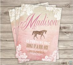 Printable Horse Shabby Chic Vintage Invitations Birthday Lace Burlap Country Pink Gold Brown Pony Birthday Party Digitial File Silhouette on Etsy, $17.07 CAD