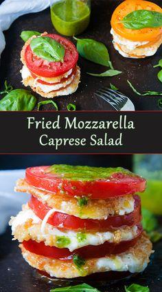 Fried Mozzarella Caprese salad Mozzarella Caprese, Caprese Salad, Vegetarian Recipes, Cooking Recipes, Healthy Recipes, Delicious Recipes, Diet Recipes, Appetizer Recipes, Salads