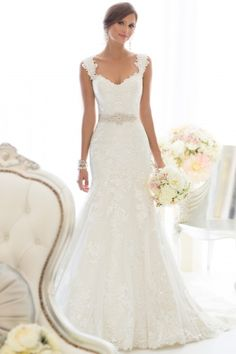 lace, fit and flare wedding dress