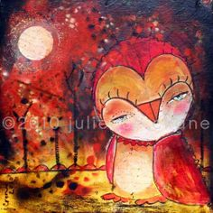 Owl Painting  8x8 inch Limited Edition Print of a by juliettecrane, $30.00