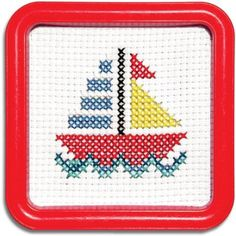 Easy Street Little Folks Sail Boat Counted Cross-Stitch Kit Tiny Cross Stitch, Easy Cross Stitch Patterns, Cross Stitch Cards, Cross Stitch Borders, Counted Cross Stitch Kits, Cross Stitch Designs, Cross Stitch Embroidery, Embroidery Patterns, Hand Embroidery
