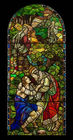 The Good Samaritan - Illustrative Antique Stained Glass Window