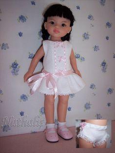 Ensemble robe courte avec petite culotte fantaisie compatible poupée Paola Reina