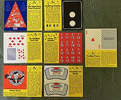 TWO-mint-sets-of-7-vintage-Klosterman-Bakery-punch-out-magic-tricks-from-1992