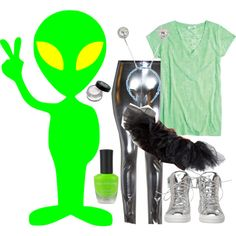 """""""D.I.Y. Alien costume"""" by michellex0x on Polyvore"""