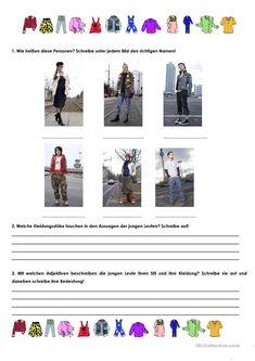 Aussehen, Kleidung Arbeitsblatt - Kostenlose DAF Arbeitsblätter German, Education, Travel, German Language, German Language Learning, Dirndl, Reading, Clothing Apparel, Deutsch