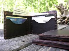 Handmade Dark Brown Leather Basic Wallet Thin by CSherwoodLeather, $28.00