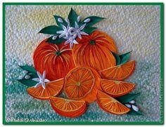 Картина панно рисунок Квиллинг Апельсины Бумажные полосы фото 1