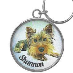 Custom Pastel Puppy Dog Yorkie Yorkshire Terrier Keychain - individual customized designs custom gift ideas diy