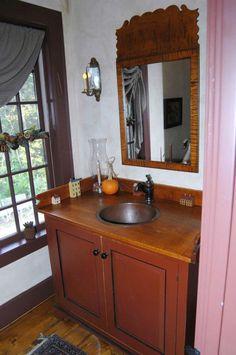 Powder Room David T. Smith Gorgeous olde mirror!