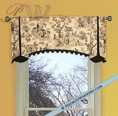 Very pretty rod top valance with double trumpet side pleats Toile Curtains, Curtains With Blinds, Custom Valances, Custom Curtains, Country Kitchen Curtains, Kitchen Valances, Curtain Designs, Curtain Ideas, Custom Window Treatments