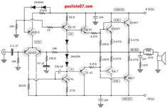 This is the schematic diagram of RMS stereo power amplifier which use power transistor to work. This amplifier in addition to providing good sound power, also with excellent quality and a high… Power Supply Circuit, Electronic Schematics, Circuit Diagram, Audio Amplifier, Technology, Nice Things, Guitar, Fan, Tools