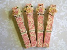 "steelmagnolias-sweettea: "" Shabby Chic Clothes Pins by T o w n i e on Flickr. """
