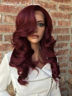 Shop lace front wigs and full lace wigs at Nikki Bella Hair. We have natural lace front wigs and full lace wigs in Ombre, Balayage, and Solid hair colors. Color Borgoña, Red Hair Color, Hair Colors, Deep Burgandy Hair Color, Burgundy Hair Dye, Deep Red Hair, Black Hair, Cherry Red Hair, Voluminous Curls