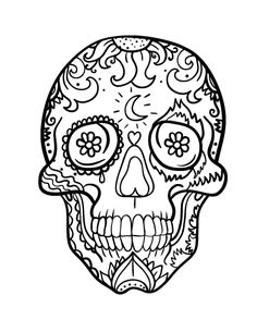 Printable Day of the Dead (Dia de los muertos) skull coloring page. Free PDF download at http://coloringcafe.com/coloring-pages/day-of-the-dead-skull/