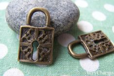 Accessories - 10 Pcs Of Antique Bronze Lovely Lock Charms Picture Frame Projects, Key Lock, Jewellery Making Materials, Lead Free, Charms, Buy And Sell, Bronze, Personalized Items, Antiques