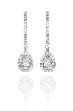 Be dazzling in Haute Vault's white gold and pear shape diamond drop earrings. Diamond Dangle Earrings, Pear Shaped Diamond, Dangles, Fine Jewelry, Jewelry Design, White Gold, Gems, Jewels, Bride