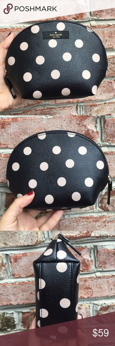 "NWT Polka Dot Makeup Bag Brand new with tags cosmetics case in polka dots.  Measurements 7.5"" X 5.5"" X 2.75""  Ribbon zipper pull  Coated canvas  Satin lining, card pocket   ✔️ Bundle Discounts  ✔️ Reasonable Offers through offer button  ❌ Low Balling  ❌ Trades kate spade Bags Cosmetic Bags & Cases"
