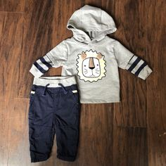 48cef5d8b New baby boy outfit 6-9 months Sweater Sweatshirt Pants Lion Hoodie Rorie  Whelan #