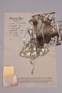 Mixed media on Christian Dior vellum stationery, for Lilas de Serre dress with personal notes to client Brenda Schulman, with swatch attached. 8 x 12 (Slight puckering to paper) excellent. Dress Illustration, Fashion Illustration Sketches, Fashion Sketchbook, Fashion Design Sketches, Portrait Illustration, Art Illustrations, Dior Fashion, Fashion Art, Vintage Fashion