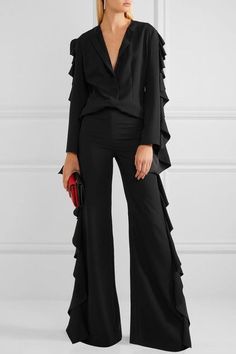 Black cady Concealed hook and zip fastening at side 100% polyester  Dry clean  Imported