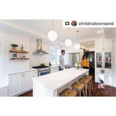 Amazing transformation! #Repost @christinatownsend on Instagram. Caesarstone countertops, Restoration Hardware stools and Kitchenaid appliances.