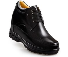 Black Leather Elevator Boot Men Shoes 130mm