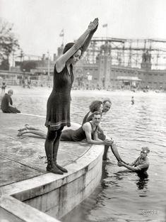 1920s    (wow, swimming in tights)