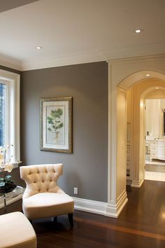 "wood work from family room to living room,,,Gray Paint Color Ideas. Similar Gray Paint Color: ""Benjamin Moore Storm Room Colors, New Homes, Home And Living, Decor, Interior Design, Home, Interior, Room Paint, Home Decor"