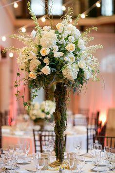Organic Tall table arrangement by Botanica #wedding #weddingflowers #Botanica