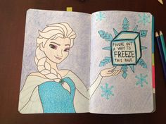 Wreck this Journal - freeze this page.  Elsa from Disney's Frozen.