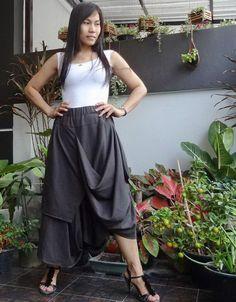 Unisex Asymmetrical Gray Harem Pants,Drop Crotch Trousers in Cotton Blend #tribalfashion #CasualPants