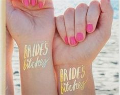 Bride Tribe tattoo - the original tattoos make for awesome party favors! They are also a hit as bridesmaid gifts. Also known as hen tattoos for all my Aussie and UK brides…More Bride Tribe Tattoo, Hen Tattoo, Uk Bride, Brides Basket, Brides With Tattoos, Bachelorette Party Gifts, Bride Gifts, Bridesmaid Gifts, Bridal