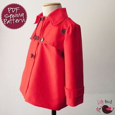 Mona Coat - 12 months to 8 years - PDF Pattern and Instructions - trench style, peacoat. $7.90, via Etsy.