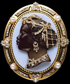 Cameos featuring detailed profiles of Black men and women in precious metals and jewels were popular in many European countries. The ones above date circa 1600-1800. Some art historians relate the style above to depictions of the goddess Diana, others relate them to the association of Blackness and wealth that came though trade in the Middle ages and Renaissance.