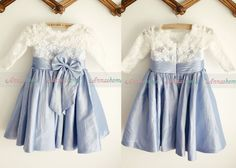 Modest long sleeves flower girl dress Perfect for vintage wedding French lace top with blue taffeta skirt and a cute big bow on the waist Want a