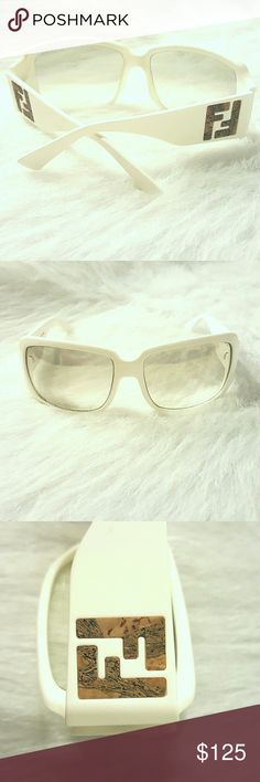 Fendi Sunglasses with Cork Detail Fendi Sunglasses- White Acetate with FF cork detail... light gray lens. Fendi Accessories Sunglasses