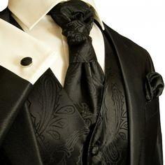 Black Tuxedo Vest Sets , Mens Vests , Wedding Vests for Men