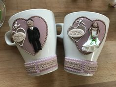 Cute Polymer Clay, Polymer Clay Crafts, Cute Mug, Spoon Art, Wedding Mugs, Couple Mugs, Clay Cup, Personalized Mugs, Clays