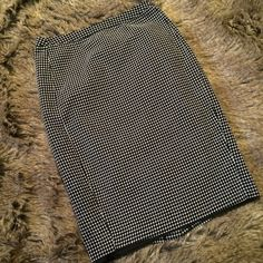 "Black and white polka dot pencil skirt Black and white pencil skirt, hook and zipper closure. Slit up the back. L:24"", W:14.5"", H:19"", Slit length:5.25"". Merona Skirts Pencil"