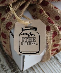 Make your favorite homemade gifts and attach a cute 'From the Kitchen Of' Jam Jar Stamp tag to it. <3 this!