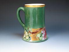 Antique Hand Painted Jade Green T&V Limoges Mug by DejaVuPorcelain