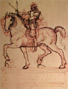 Drawing of an equestrian monument - Leonardo da Vinci - 1500 - Italy